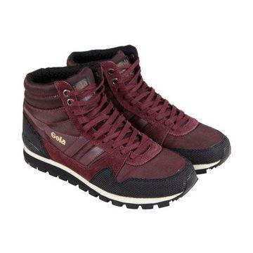 Gola Ridgerunner High II Burgundy Black Mens Athletic Training Shoes