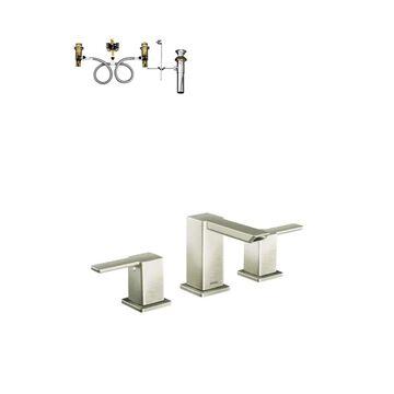 Moen 90 Degree Brushed Nickel 2-Handle Widespread WaterSense Bathroom Sink Faucet with Drain   TS6720BN-9000-L