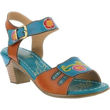 L'Artiste by Spring Step Women's Kyleta Ankle Strap Sandal Turquoise Multi Leather