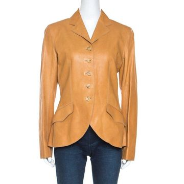 Hermes Brown Leather Scallop Detail Jacket M