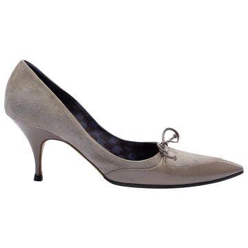 Manolo Blahnik Grey Suede Heels