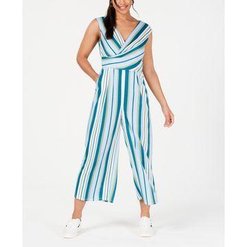 Juniors' Striped Wrap Jumpsuit