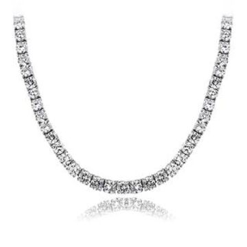ICZ Stonez 40ct TGW 4mm Cubic Zirconia Tennis Necklace (White - Sterling Silver)