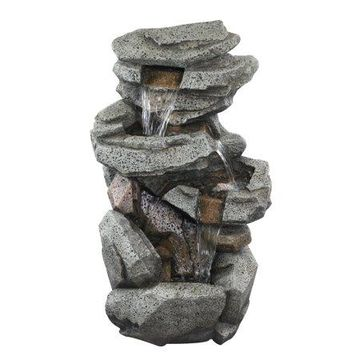Alpine Corporation WIN1184 Alpine Rock Locking 5-Tier Cascading Fountain w/LED Lights, 40 Inch Tall Floor, 17