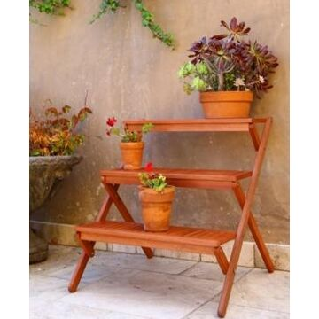 Vifah Malibu Outdoor 3-Layer Wood Garden Plant Stand
