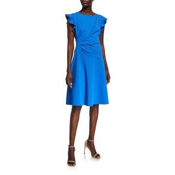 Ruffle-Sleeve A-Line Dress