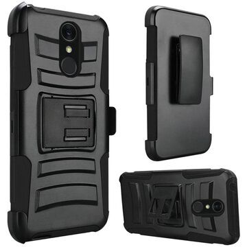 Insten Dual Layer Hybrid Stand Hard Snap-in Holster Case Cover For LG Q7 Plus - Black