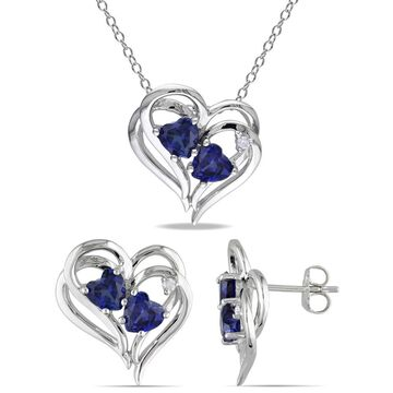 Miadora Sterling Silver Heart-Cut Created Sapphire and Diamond Accent Curvy Heart Birthstone Necklace and Earrings Set - Blue
