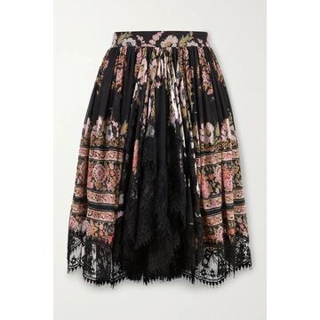 Etro - Lace-trimmed Floral-print Silk-crepon Mini Skirt - Black
