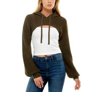 Almost Famous Juniors' Hooded Cropped Shrug