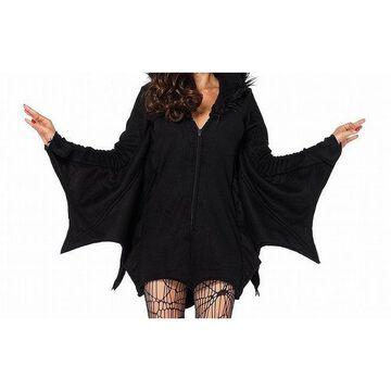 Leg Avenue Women Halloween Costume Black Size XL Cozy Bat Fleece Cape