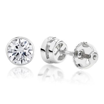 Luxurman Platinum 1ct TDW Round Diamond Bezel Stud Earrings