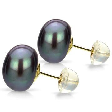 DaVonna 24k Gold-over Sterling Black Freshwater Pearl Stud Earring (13-14 MM)