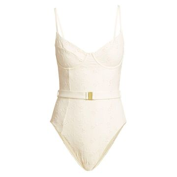 Onia X WeWoreWhat Danielle Eyelet One-Piece Swimsuit