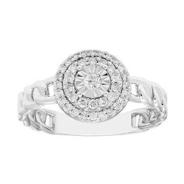Boston Bay Diamonds 1/4 Carat T.W. Diamond Chain Link Halo Ring, Women's, Size: 8, White
