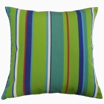 The Pillow Collection Xanto Striped Decorative Throw Pillow (Green - Euro Square - Square)