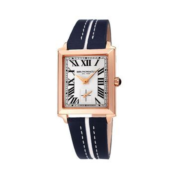 Valentina 1064 Rectangular Rose-Gold Tone Stainless Steel & Leather-Strap Watch