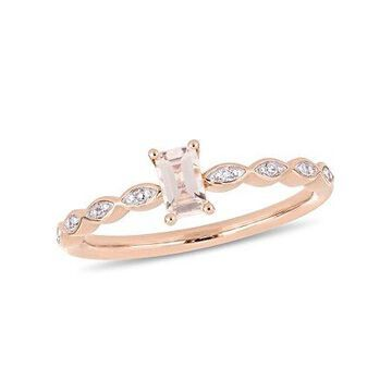 1/3 Carat T.G.W. Morganite and Diamond-Accent 10kt Rose Gold Engagement Ring
