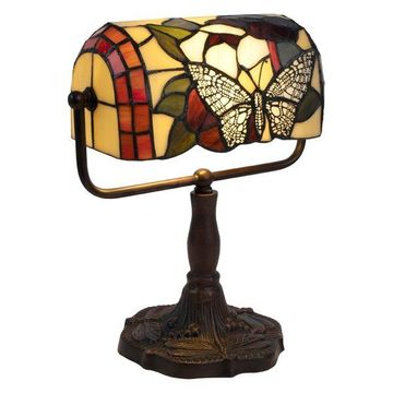 Lavish Home Tiffany Style Bankers Lamp With Butterfly Design