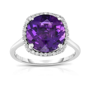 Noray Designs 14K White Gold Amethyst and Diamond Ring (G-H, SI1-SI2)