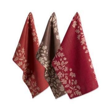 Design Imports Assorted Fall Harvest Vine Jacquard Dishtowel Set