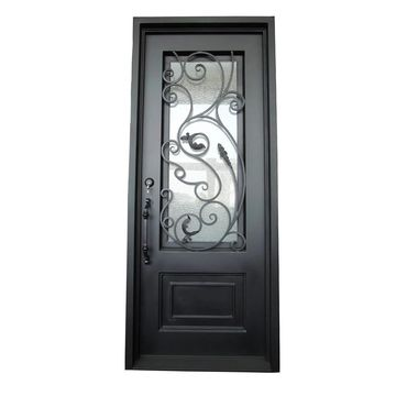 ALEKO Iron Vine Design Single Door with Square Top 96 x 40 X 6 inches Matte Black