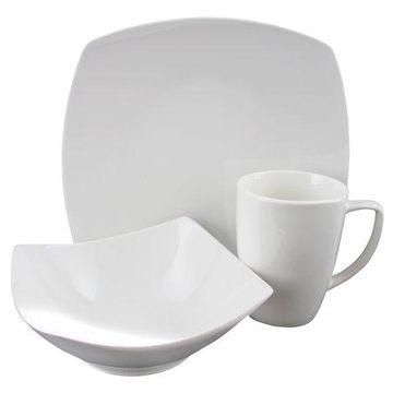 Gibson Zen Buffetware 12 Piece Square Dinnerware Set in White