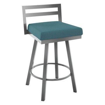 Derek Swivel Stool, Glossy Grey Metal/Cyan Blue Polyester, Counter Height