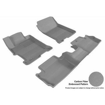 3D MAXpider 2013-2017 Honda Accord Coupe Front & Second Row Set All Weather Floor Liners in Gray with Carbon Fiber Look