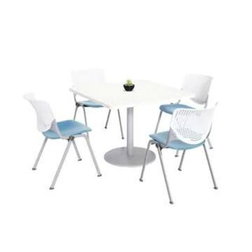 KFI KOOL Table & Chair set, White Table Top (42 inch table top - White/Sky Blue)