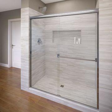 Basco Classic 43-in to 47-in W Semi-frameless Chrome Bypass/Sliding Shower Door