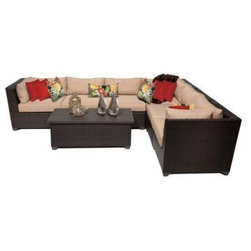 TK Classic Barbados 7-Piece Outdoor Wicker Sofa Set, Wheat