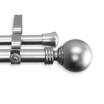 InStyleDesign Sphere 1-inch Adjustable Double Drapery Rod 160-240 inch - 160 to 240 inch (Nickel Finish/Silver Finish/Satin - satin nickel)
