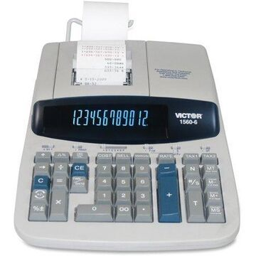 Victor, VCT15606, 15606 Printing Calculator, 1 Each, Gray