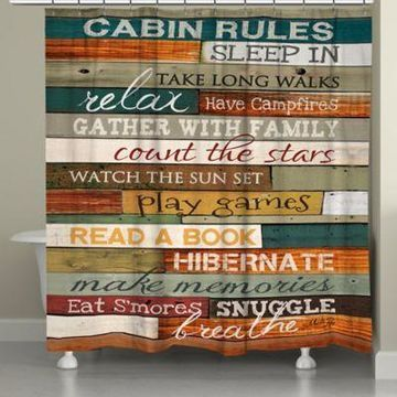 Laural Home Cabin Rules Shower Curtain
