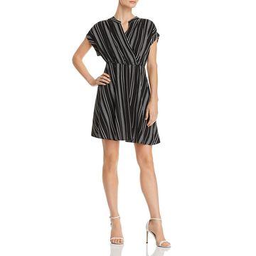 Vero Moda Womens Faux-Wrap Cuff-Sleeve Shirtdress