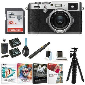Fujifilm Digital Camera (Silver) with 32GB SD Card & Accessory Bundle