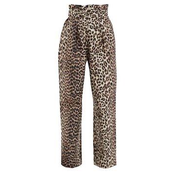 Ganni - Paperbag-waist Leopard-jacquard Twill Trousers - Womens - Leopard