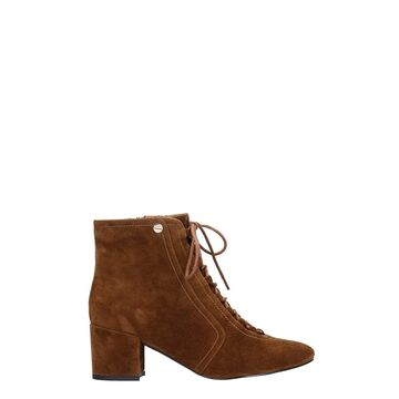 Bibi Lou High Heels Ankle Boots In Brown Suede