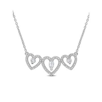 1/5 Carat T.W. Diamond and 0.54 Carat T.G.W. White Topaz Sterling Silver Three Heart Necklace