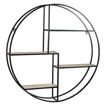 Round Metal Wall Shelf w/ 4 Wood Surface Tiers & Ring Side Hangers, Bl