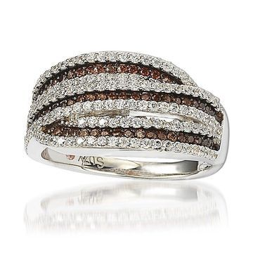 Suzy Levian Sterling Silver White and Chocolate Cubic Zirconia Intertwined Ring