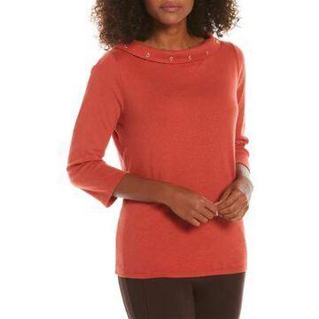 Rafaella Women's Petite Solid Boat Neck Sweater - -