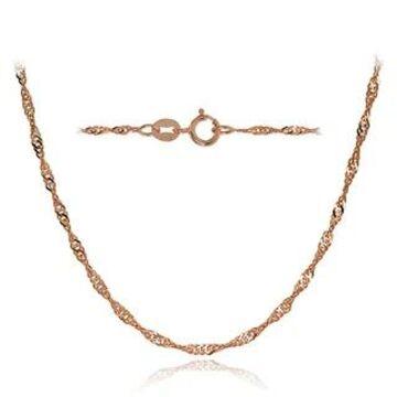Mondevio 14k White Gold 1.4mm Singapore Italian Chain Necklace, 24 Inches (Rose)