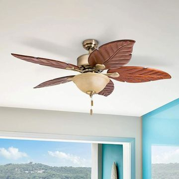 Honeywell Sabal Palm Tropical LED Ceiling Fan with Bowl Light, Hand Carved Blades - 52-inch