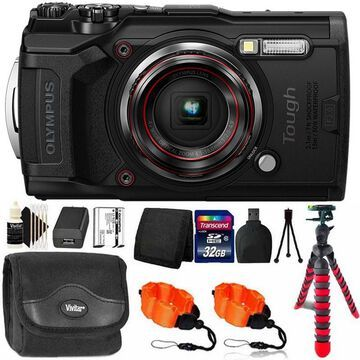 OLYMPUS Tough TG-6 Digital Camera Black with 32GB Memory Card & Accessory Kit