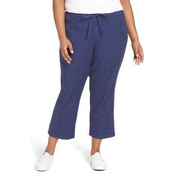 NYDJ Womens Plus Jamie Wide Leg Crop Pull-On Pants