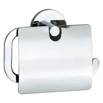 Smedbo Loft 6 Wall Mount Euro Toilet Roll Paper Holder with Lid, LK3414