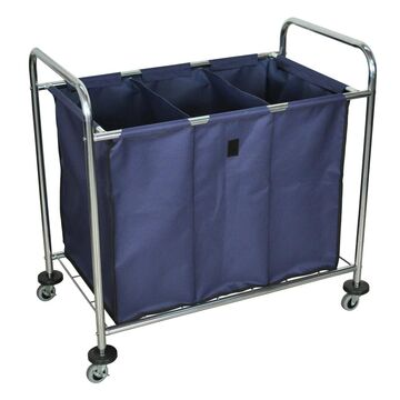 Luxor HL15 Laundry Cart with Navy Cloth Laundry Bag - Single (Pack of 10)