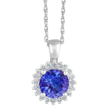 Premier 1.85cttw Round Tanzanite & Diamond Pendant, 14K